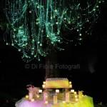 Fotografi matrimonio napoli. Wedding Cake con fili luminosi in fibra ottica. Matrimonio con effetti speciali
