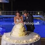 Momenti indimenticabili del matrimonio. Taglio della torta nuziale a bordo piscina